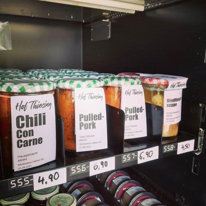 Hofladenautomat mit eigenen Produkten Hof Thiesing